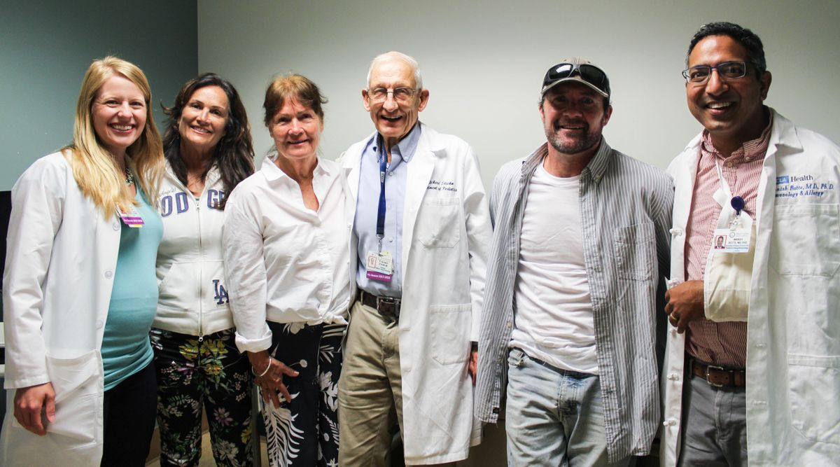 Dr. Christin Deal, Erin Elias (Maurice's sister), Carol Elias Lilly (Maurice's mother), Dr. Richard Stiehm, Maurice Elias and Dr. Manish Butte