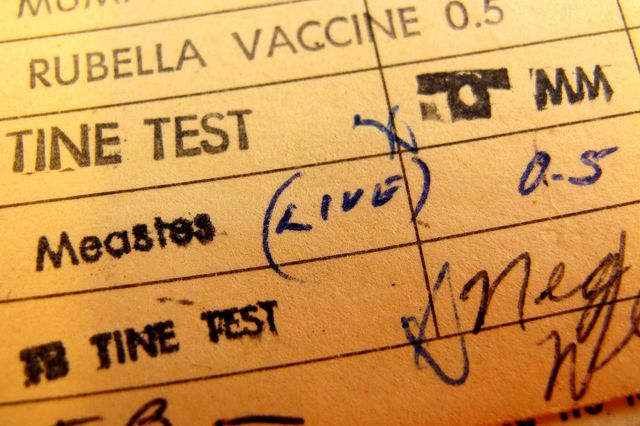 Measles vaccine record