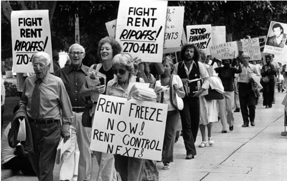 Rent control march at City Hall