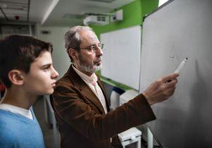 Teacher and math student