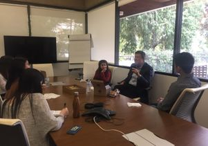 Terry Kramer chat with Sharpe Fellows