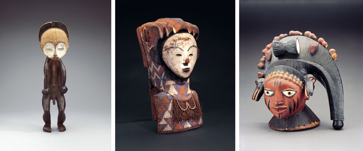 African statue, mask and headdress