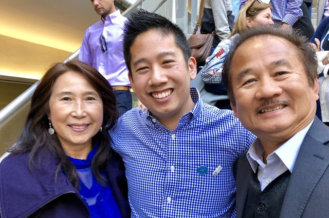 Anthony Bui, center, is ecstatic after learning that he matched at the University of Washington in Seattle, where he'll be reunited with his girlfriend, who also matched there.