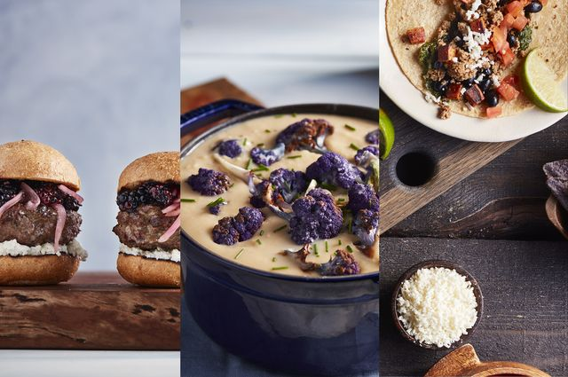 Pictures of bison burger sliders, roasted cauliflower soup and tacos from the Bruin Plate Cookbook.