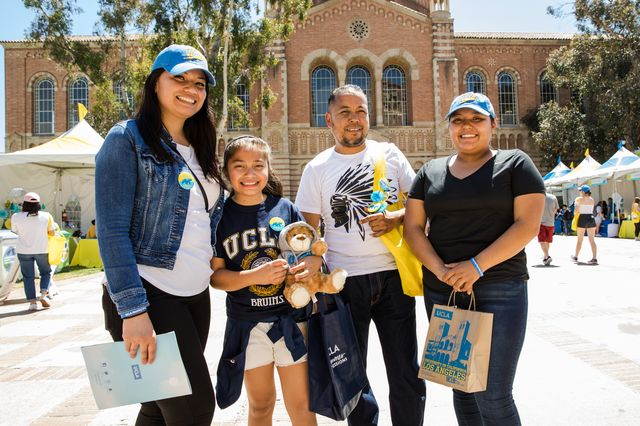 Family on Dickson Plaza on Bruin Day