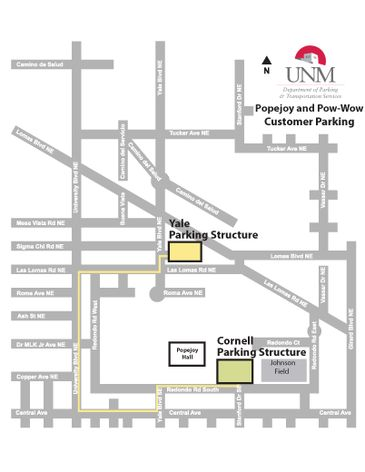 Popejoy and Pow-Wow parking map