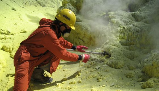 Fischer Samples Volcanic Gas