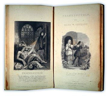 "Image plates from 1831 version of Mary Shelley's novel ""Frankenstein."""