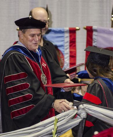 President Frank at commencement
