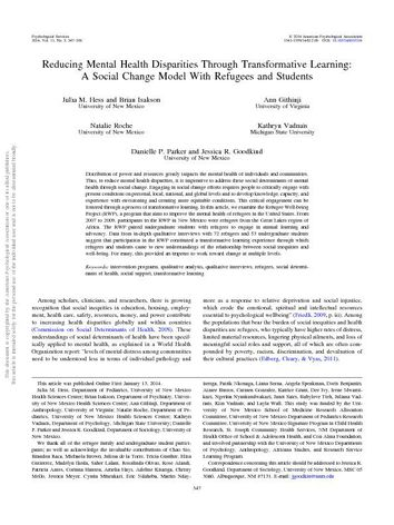 Reducing Mental Health Disparities through Transformative Learning: A social change Model with Refugees and Students
