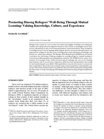 Promoting Hmong Refugees' Well-Being Through Mutual Learning: Valuing Knowledge, Culture, and Experience