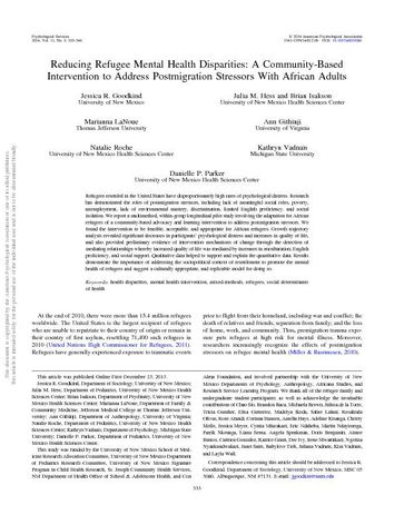 Reducing Refugee Mental Health Disparities A Community-Based Intervention to Address Postmigration Stressors With African Adults