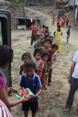 Students in line for school supplies in Nepal