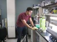 UNM biology Ph.D. student John Roesgen in the lab