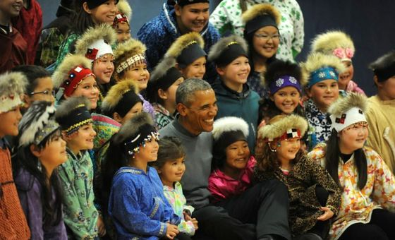 Obama with Yup'ik dance group