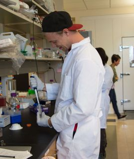 Nick Baker at work in CBME lab