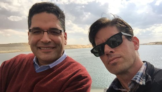 Mahmoud Taha and Mark Stone in the Suez Canal