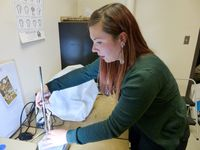 Milena Carvalho setting up turkey leg bone in zooarchaeology lab 3-D scanner