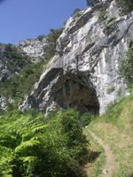 Entrance to El Miron Cave in Cantabria, Spain