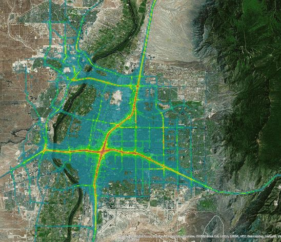 This overlay shows vehicle emissions in Albuquerque. The areas in red show higher emissions near the intersection of I-25 and I-40. Yeallow shos the lower emissions levels along major traffic arterials.