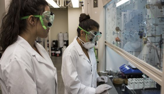 Students work together in research lab