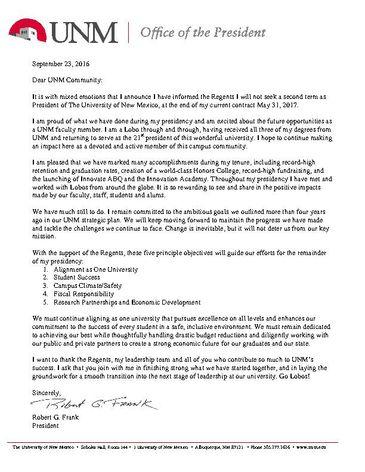 President's letter to UNM Community