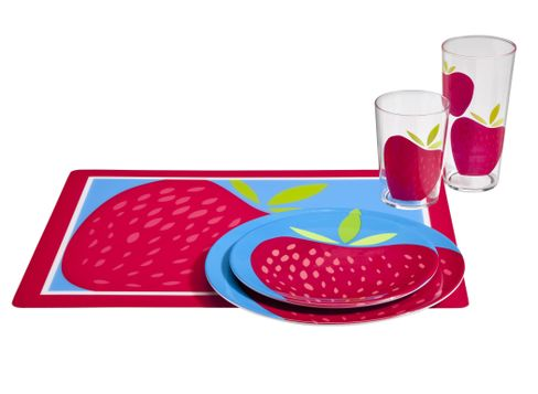 Strawberry Melamine Dinnerware Strawberry Tumblers  and  Strawberry Placemat