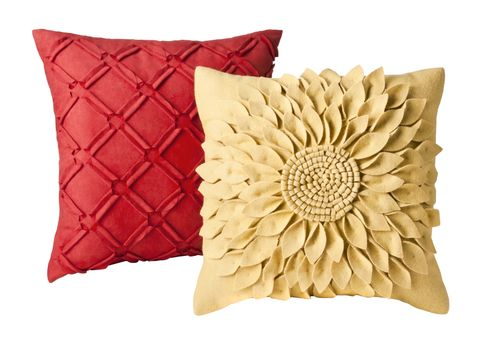 Target Home Pillow in Red and Target Home Felt Flower Pillow in Yellow