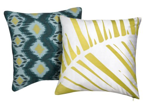 Target Home Pillow in BlueGreen Print  and  Target Home Palm Print Pillow in Lime