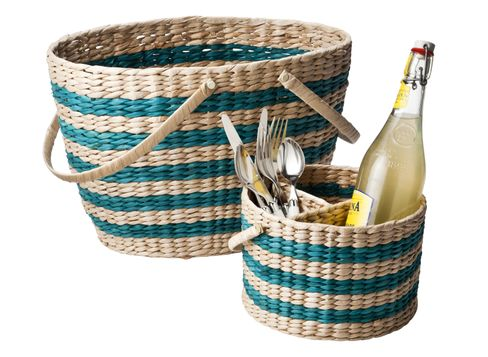 Target Home Picnic Basket in Teal Stripe  and  Target Home Woven Caddy in Teal Stripe