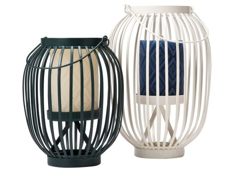 Target Home Lantern Candle Holders in White and Blue and Pillar Candles in White and Blue