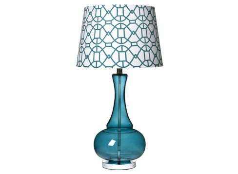 Target Home Glass Lamp Base in Turquoise and Target Home Glass Lamp Shade in Turquoise
