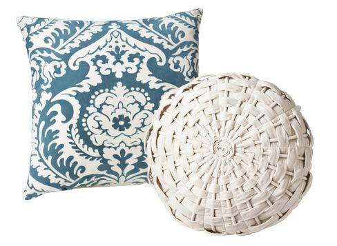 Target Home Flocked Pillow in Blue and Target Home Woven Round Pillow in Cream