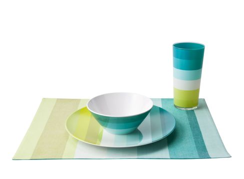 Striped Melamine Dinnerware in Teal Solera Striped Tumblers in Teal and Solera Striped Placemat in Cool Tones