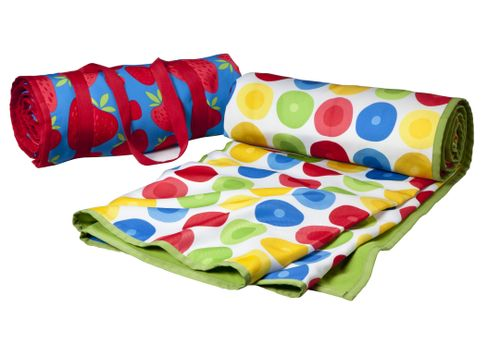 Roll-Up Beach Blankets in Strawberry and Multi-Circle Pattern