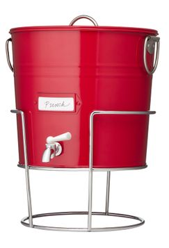 Red Metal Beverage Dispenser
