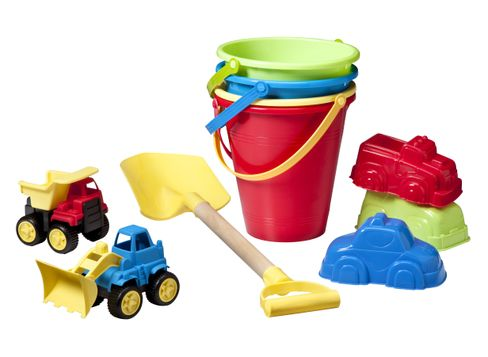 Mini Sand Trucks in Assorted Colors Wooden Sand Shovel in Assorted Colors Sand Bucket in Assorted Colors and Sand Mold in Assorted Colors