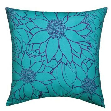 Room Essentials Large Floral Outdoor Pillow in Blue