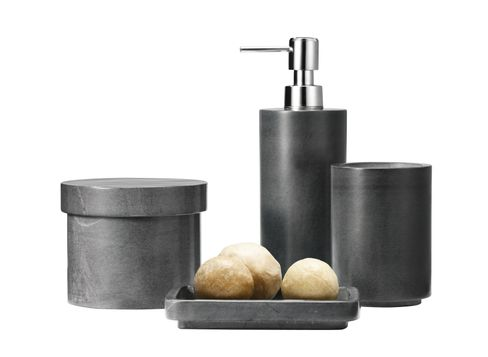 Nate Berkus Harbor Large Bath Canister in Gray, Nate Berkus Harbor Soap Dish in Gray, Nate Berkus Harbor Soap Pump in Gray, and Nate Berkus Harbor Bath Tumbler in Gray