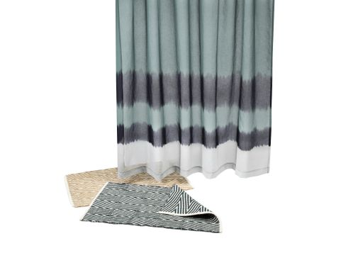 "Nate Berkus Dip-Dyed Shower Curtain in Aegean Sea and Nate Berkus Aztec Diamond Bath Rug in Ultramarine and Wheat (20""x33"")"