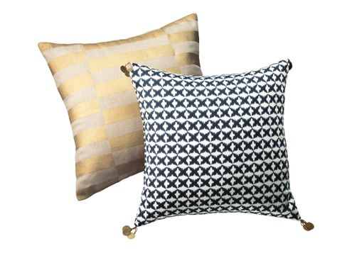 Nate Berkus Gold Broken Stripe Pillow and Nate Berkus Indigo Star Ikat Pillow