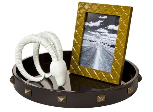 "Nate Berkus Decorative Ram's Head, Nate Berkus Quilted Lacquer 5""x7"" Picture Frame in Yellow, and Nate Berkus Round Studded Tray in Brown"