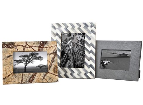 Nate Berkus Stone Picture Frames in Marble, Slate and Bone