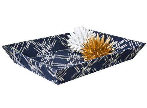 "Nate Berkus Crosshatch Fabric Covered Tray (18""x13""x2.5""H) and Nate Berkus Decorative Urchin in Brass and White"