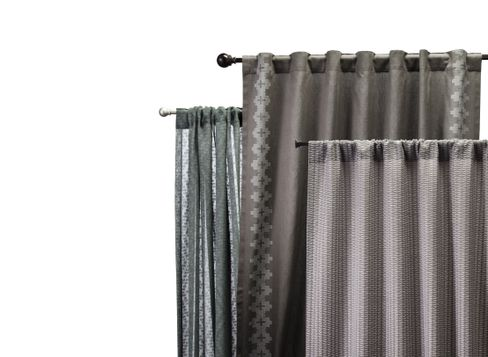 "Nate Berkus Aztec Diamond Curtain in Charcoal (54""x84""), Nate Berkus Inca Print Curtain in Charcoal (54""x84""), and Nate Berkus Textured Solid Curtain in Slate (54""x84"")"