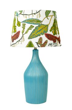 Vine Print Lamp Shade and Blue Ceramic Lamp Base