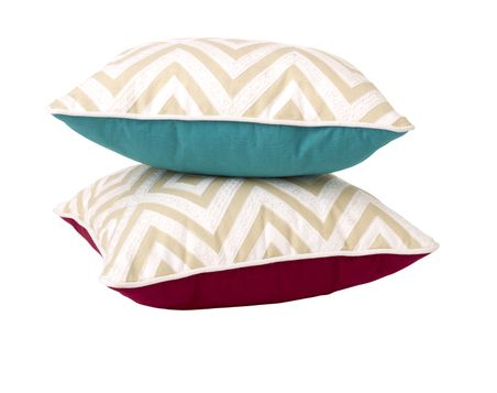 Tan and White Diamond with Teal and Pink Reverse Pillows