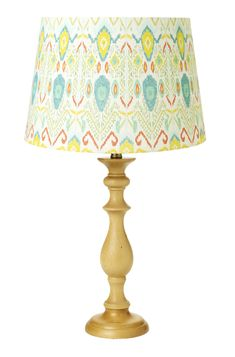Ikat Print Lamp Shade and Turned Wood Lamp Base