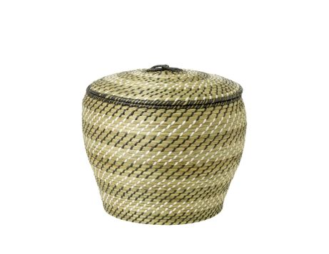 Black and White Striped Seagrass Basket