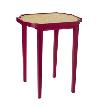 Pink Side Table with Woven Inset